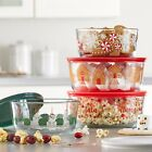Pyrex 8 Pc Christmas Holiday Glass Food Storage Bowl Set Two 4 Cup Two 7 Cup NWT