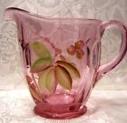 Fenton Madras Pink Handpainted Meadow Berry 5 1 4 Pitcher new in box