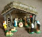 Vintage SEARS Stable  11 Piece Nativity Set  WITH BOX No 71 97169