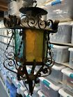 Vintage Spanish Colonial Tin Glass Pendant Light Fixture Gothic Grn Blu Orng