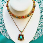 2 Vintage NECKLACE LOT Art Glass Turquoise Coral Speckle CZECH Signed Chain EVC