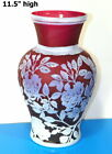 1990 KELSEY PILGRIM Cameo Frosted ART GLASS Vase 115 tall Etch Signed