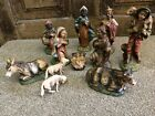 Christmas Nativity Figurine Set Vintage Made In Italy Plaster Chalk ware