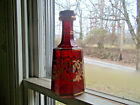 1870 RUBY STAINED CUT GLASS DECANTER 9 SIDED WITH ORIGINAL CUT GLASS STOPPER