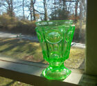 1860s APPLE GREEN 6 SIDED FOOTED TUMBLER OVALS  ARCHES VASELINE GLASS