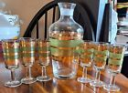 A RARE Set of 6 Vtg Starlyte Culver Cordial Stemed Glasses  Decanter from 1960s