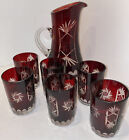 Vintage Rare Bohemian Czech Ruby Red Silver Clear Crystal Glass Pitcher 6 Glass