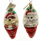 Christopher Radko BUGS AND TAZ STOCKING Glass Set Of Two Ornament Warner Bros