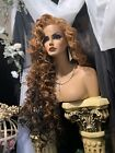 LOVELY OMBRE GOLDEN Red To BLACK Lace Front 32 Of Pretty Spiral Curl Wig