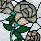 Tiffany Style Floral Rose Bouquet Stained Glass Handcrafted Window Panel 8 x 13