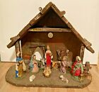 Vintage Christmas Nativity Scene 10 Attached Figures Wood Creche Italy