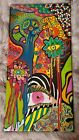 OOAK Funky Abstract Colorful Eyes Outsider Folk Art Painting Wall Canvas