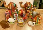 Vintage Holland Mold Ceramic Christmas NATIVITY SET 17 Pieces 1978 Hand Painted
