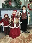Set Of 3 Large Floor Christmas Carolers Resin and Fabric Figurines Display