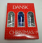 DANSK 3 Ornaments Hanging Teardrop shape Glass Bulbs Hand Blown Cobalt Blue NEW