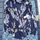 Vince Camuto  Navy Blue Floral Long Sleeve Wrap Top Blouse  Petite Small NWT