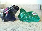 Lot of 2 Fenton Hand Painted Violet Frog  Robins Egg Blue Cuddle Cat New