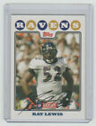 RAY LEWIS Ravens SIGNED 2008 Topps Kickoff Football #94 Autograph ON CARD AUTO