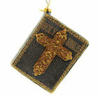 Holiday Ornament Holy Bible Glass Book Cross 3660214 Black