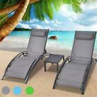 3Pcs Adjustable Pool Chaise Lounge Chair Outdoor Patio Furniture Cushion w table