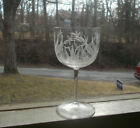 1870s ANTIQUE ENGRAVED DRAGONFLIES  PLANTS FOOTED CRYSTAL WINE GLASS DELICATE