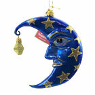 Morawski Blue Man In The Moon  Star Glass Ornament Halloween Crescent 19762