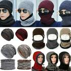 Mens Womens Winter Beanie Hats Scarf Thicker Warm Fleece Knitted Caps Outdoor US