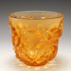 A Lalique Avallon In Pale Amber and Frosted Glass Vase