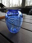 Signed Bettina Foothorap Studio Art Glass Pulled Feather Vase