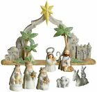 NIB Grasslands Road MINIATURE CHRISTMAS NATIVITY SET w 85 Wide BACKDROP Resin