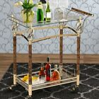 Rolling Bar Cart Gold Metal Clear Glass Glam Mid Century Modern Serving Storage