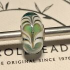 Trollbeads OOAK Unique Murano Glass Bead Green White Base Hearts
