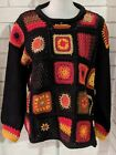 Hand Knit For The Limited Black Boho Sweater Crochet Squares One Size FLAW b6