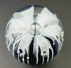 Stunning Paperweight Art Glass White Flower w Blue Base Controlled Bubbles