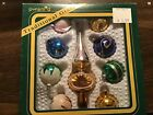 Vintage Christmas Ornaments And Tree Topper Glass Mica 2 Boxes USA NOS