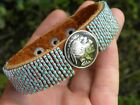 Cuff bracelet 1930 Buffalo Indian Nickel coin Bison glass turquoise beads
