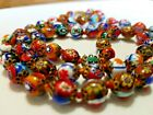 STUNNING Vintage Millefiori Murano Venetian Hand Knotted Necklace Glass Bead 25