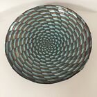 Akcam Glass Bowl Iridescent Hand made from Turkey Blue And Brown Swirl