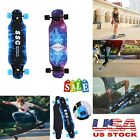 Complete 4 Wheel Skateboard Double Kick Deck Concave Blue Flash Wheels 31x 8