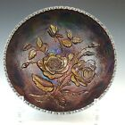 Imperial Open Rose Amethyst Iridescent Carnival Glass Bowl