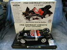 1 12 SCALE 1958 CHEVY CORVETTE CONVERTIBLE BLACK DIECAST CAR BY GEARBOX MIB