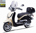 FREE SHIP NEW 150cc Moped Gas Scooter Retro Motorcycle Windshield Trunk LED USB