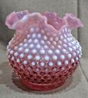 Fenton Glass Cranberry Opalescent 5 1 4 High Ruffled Hobnail Vase Lot  2