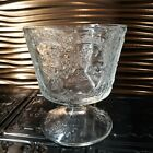 Vintage FENTON Crystal Clear Wild Strawberry Pattern Candy Bowl Pedestal Footed