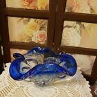 Vintage Cobalt Blue Murano Style Art Glass Bowl Ash Tray Candy Dish Preowned