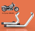 Fit for Harley Dyna 2006 2011 Street Bob 2008 2011Fat Bob full Exhaust Chrome2