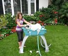 Bath Tub For Medium Dog Teal Blue Elevated Sturdy Plastic Grooming Wash Station