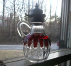 1890s RUBY STAINED CORONA PATTERN GLASS SYRUP PITCHER WITH PEWTER LID