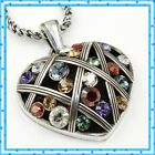 Brighton Grateful Heart Colorful Silver Crystal Necklace New