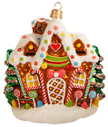 New Gingerbread House Candy Cane Lollypops Glass Christmas Ornament 110349